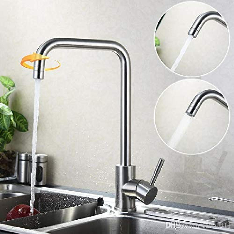Wasserhahn Ankunft Mode Sus304 Edelstahl Küchenarmatur Drehen Wasserhahn 2 Way Wasser Outlet Armaturen Gebürstet Mischbatterien (Farbe   -, Gre   -)