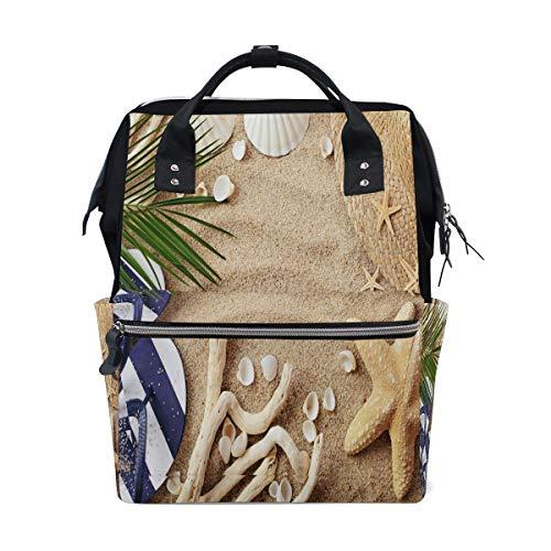 Bardic Sea Sand Seestern Muschel Palme Baby Wickeltasche, wasserdicht, große Kapazität, Reisetasche, wasserdichte Wickeltasche für Damen und Herren
