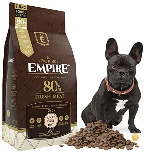 Empire Erwachsene Hunde Trockenfutter - 2kg - Hundefutter Trocken Getreidefrei - Kleine Rassen - 80% Frisches Wild und Lamm - Hypoallergen - Glutenfrei