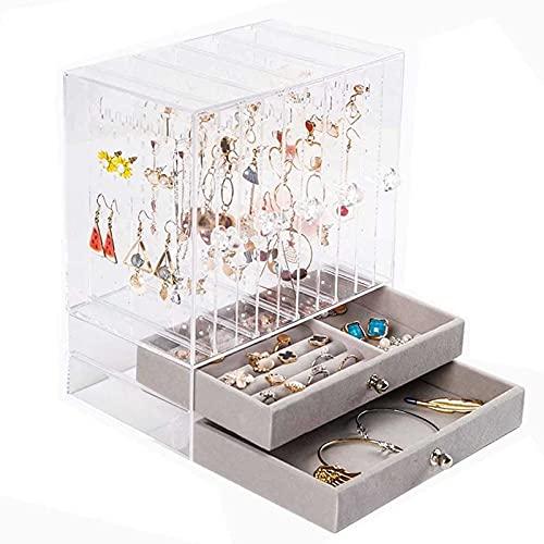 Adesign Organizador de joyería y caja de almacenamiento Titular de la bandeja Reloj de la bandeja Organizador de exhibición enorme Joyería Joyería Cajón Reloj de reloj Caja Gafas de sol Pantalla Organ