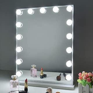Wonstart 女優ミラー led化粧鏡 ハリウッドミラー 15個LED電球付き 寒色・暖色2色調光 明るさ調整可能 スタンド付き 卓上/壁掛け両用(シルバー)