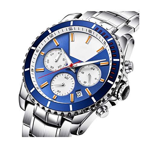 Wish Reloj Impermeable para Hombres, Multifunción, Reloj De Cuarzo Negocios, Cinturón De Acero Deportivo De Moda, Esfera De Tres Ojos,Azul