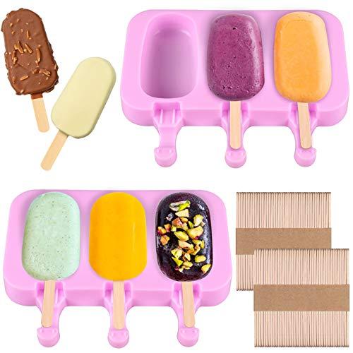 2 Packungen Eisformen,Eisformen Eis Am Stiel Silikon,Wiederverwendbar Eisform mit Deckel und 100 Holzstiele, BPA Freie Popsicle Formen