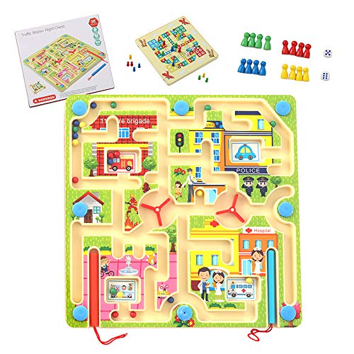 Maze Magnetic Puzzle Toy for Kids, STEM Toy Developmental Activity Encourages Fine Motor Skills, 2 in1 Board Game-Puzzle with Magnetic Ball and Ludo Game for Toddler, Car and Plane Best Travel Games