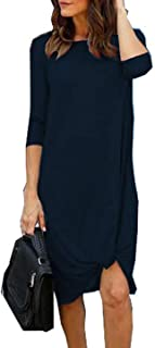 Chvity Womens Casual Long Sleeve Twist Tie Front Knot Midi Dress Pleated T Shirt Dress for Autumn