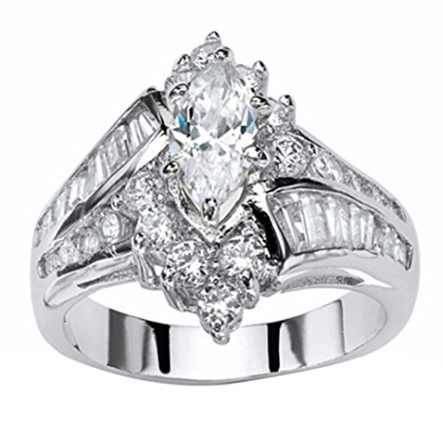Kstare Women's Diamond Engagement Wedding Ring Jewelry Gift (10, Silver)
