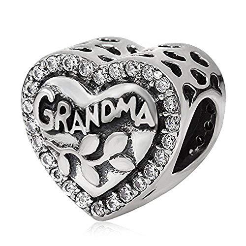 Love Grandma Charm 925 Sterling Silver Heart Beads fit Xmas,Anniversary Bracelet & Necklace