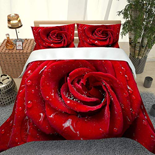 AOJHG Bedding Sets Super King 240X260Cm Pretty Rose 3 Pcs Duvet Covers Sets With 2 Pillowcases 50X75Cm - Ultra Soft Polyester Cotton Quilt Cover With Zipper