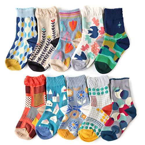 靴下 キッズ 女の子 ジュニア 北欧カラフル クルー丈ソックス 5足セット 選べるデザイン サイズ (15-19cm, Aセット)