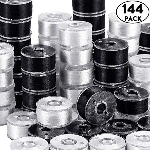 144 Stück vorgewickelte Spulen für Nähgarn, kompatibel mit Brother/Babylock/Janome/Elna/Singer Stickmaschine, Größe A (weiß, schwarz)