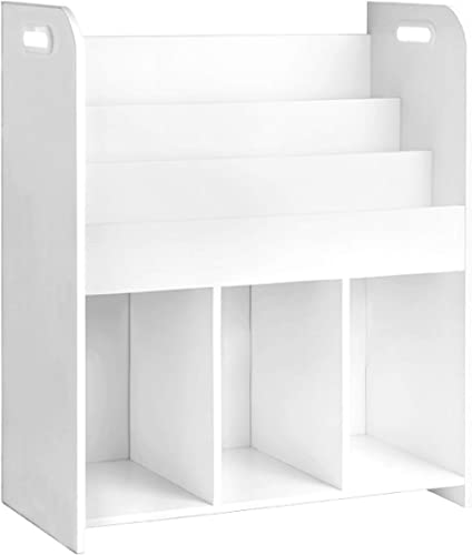 Keezi Kids Bookshelf 3-Tier Wooden Children Bookcase Magazine Storage Display Rack White