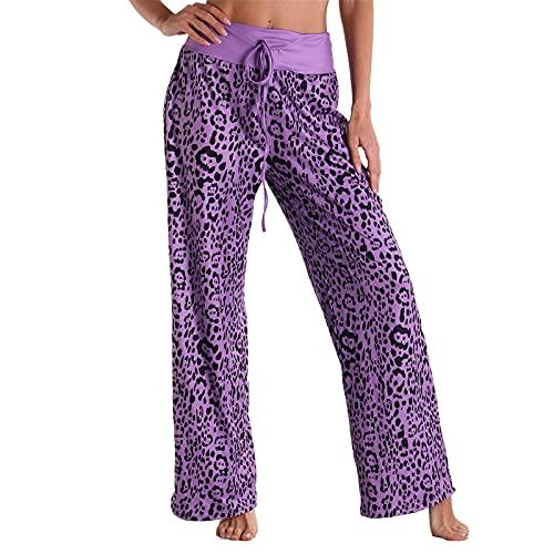URIBAKY - Pantalones largos para mujer, estilo casual, de cintura alta, elásticos y cómodos, con estampado floral y elástico, cintura elástica, pantalón largo, B-malva, XXL