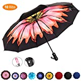 Viefin Reverse Folding Compact Travel Umbrellas for Women, Inverted Inside Out Sun Rain Woman Umbrella, Automatic Open Close, 10 Ribs(Clearance Sale, Half Price for the Same Quality)
