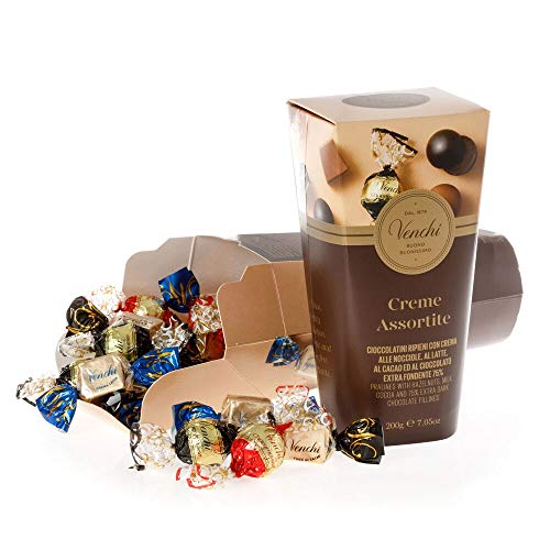 Venchi Pralines with Hazelnuts, Milk, Cacao and 75% Extra Dark Chocolate Fillings, 7.05oz Gift Box -...
