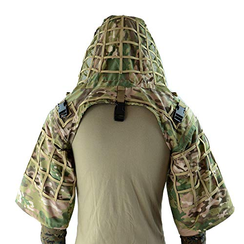 ROCOTACTICAL Sniper Ghillie Suit Foundation, Ripstop, Ghillie Viper Hood, Camouflage Sniper Coat (CP Multicam)
