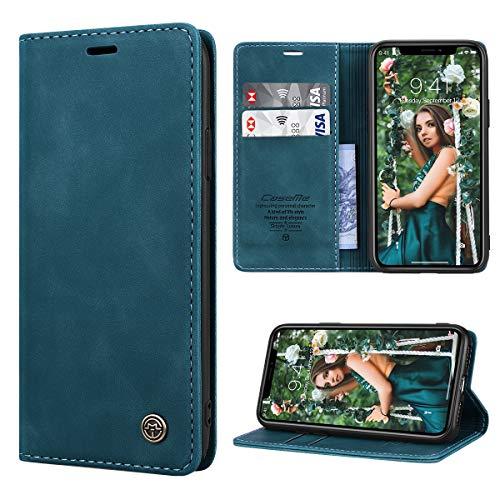 RuiPower para Funda iPhone 11 con Tapa Funda iPhone 11 Libro Fundas de Cuero PU Premium Magnético Tarjetero y Suporte Silicona Carcasa iPhone 11 (6.1'') - Azul-Verde
