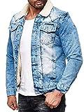 Red Bridge Herren Jeansjacke Sherpa Denim gefüttert Jacke Herbst Winter Jeans Blue Denim Blau Original (Blau, XL)