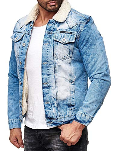 Red Bridge Herren Jeansjacke Sherpa Denim gefüttert Jacke Herbst Winter Jeans Blue Denim Blau Original (Blau, XL)
