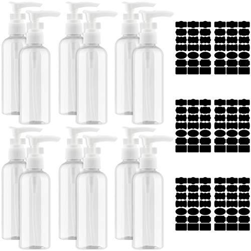 Jky Lotion Pomp, 6 of 8 stuks, lege plastic flessen met 6 stickers, navulbaar, kunststof, dispenser voor keuken, salon, shampoo, massage-olie, lotion