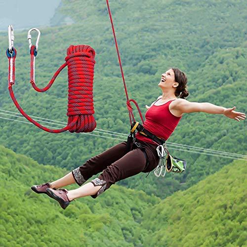 HMLIGHT Klettern Seil 10mm Baum-Wand-Klettergurt Gang im Freien Überlebens-Feuerleiter Sicherungsseil Wanderung Karabiner 10m 20m 30m,Rosa,10m/32ft