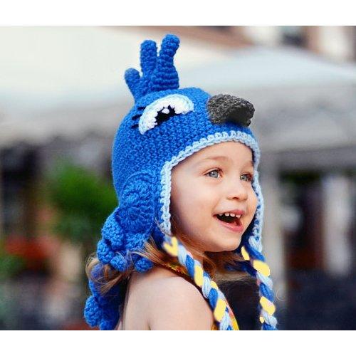 Bebé, toddleer, y las niñas Crochet bebé gorro Beanie sombrero animal gorro azul pájaro con Bule Color hecho a mano con 100% algodón hilo azul Talla:Medium18