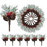 24 agujas de pino cubiertas de nieve, ramas artificiales de pino, decoración para árbol de Navidad, decoración de flores de invierno, decoración para decoración de flores de árbol de Navidad