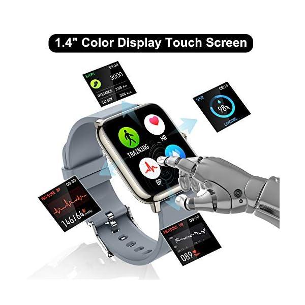 51EQyA HwOL. SS600  - Judneer Smartwatch, 1.4 Zoll Touch Farbdisplay Fitness Watch, Fitness Tracker Sportuhr, Fitnessuhr mit IP67 Wasserdicht und Schrittzähler, Pulsmesser und Schlafanalyse Smart Watch für Damen Herren