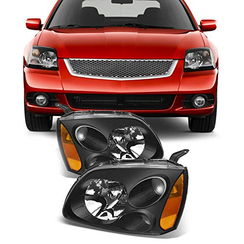 For Black Bezel 04-12 Mitsubishi Galant Headlights Front Lamps Direct Replacement Pair Left + Right