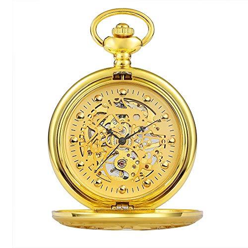 Retro Reloj de bolsillo Zhicaikeyi Reloj de bolsillo Claamshell grabado Hollow Retro Mens Mecánico Reloj de bolsillo Dorado Sliver Regalo de cumpleaños (Color: Oro, Tamaño: Un tamaño) Pocket watch