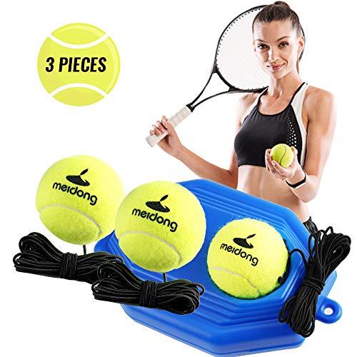 meidongTennisTrainerReboundBaseboard with 3Long Rope BallsGreat for SinglesTraining, Self-StudyPractice,TennisTrainingToolsforKidsAdultsBeginners(Blue)