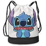 Etryrt Mochila de Cuerda Bolsas de Gimnasia Stylish Stitch Print Lightweight Sackpack Sport Gym Bundle Backpack