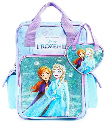 Disney Mochila Escolar Frozen 2 con Elsa y Ana + Bolso Niña, Mochilas Escolares Juveniles con Princesas Disney, Bolsa Infantil Guardería, Regalos Niñas