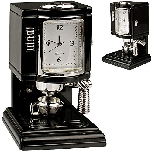 alles-meine.de GmbH kleine - Tischuhr / Miniatur - Uhr - Kaffemaschine - Kaffeeautomat / Küchenmaschine - aus Metall - 6,9 cm - batteriebetrieben - Analog - Batterie - schwarz - ..