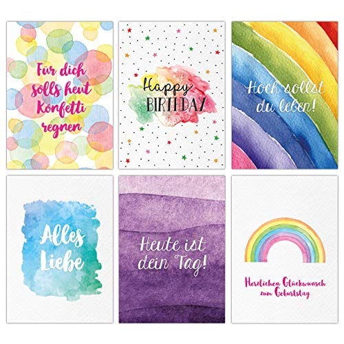 12 Glückwunschkarten zum Geburtstag - Geburtstagskarte - Grußkarte im Aquarell Stil für Kinder und Erwachsene - 12 Postkarten in fröhlichen Farben und Regenbogenmotiv