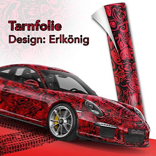 30x150cm Erlkönig Schwarz Rot Tarnfolie für Prototypen- Folie mit Luftkanäle für blasenfreies 3D Wrapping!