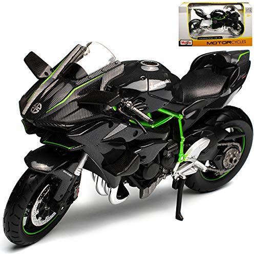 Kawasaki Ninja H2R Karbon Schwarz Ab 2014 1/12 Maisto Modell Motorrad mit individiuellem Wunschkennzeichen