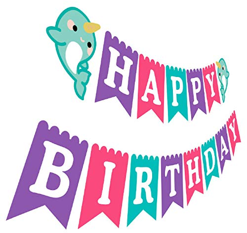Narwhal Happy Birthday Banner, Girl Purple Pink Tiffany Blue Birthday Party Bunting Sign Decoration