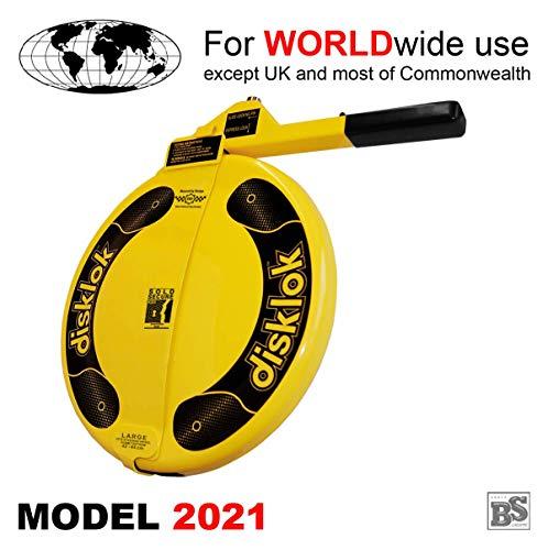 BS-Disklok Gelb (Model 2021) - Lenkradkralle und Airbagschutz für Lenkräder (für Linkslenker EU ohne UK) (L 440)