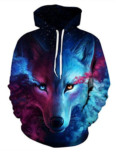 Leslady Unisex Herren Slim Fit 3D Druck Kapuzenpullover Kapuzen Sweatshirt Winter Hoodie Pullover(Small/Medium, 5-Wolf)