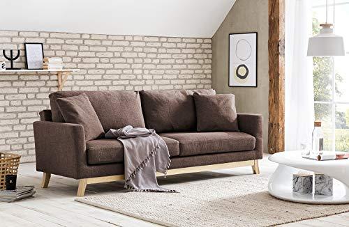 Design-Schlafsofa | modernes Klappsofa im skandinavischen Stil | 3-Sitzer | Stoff Braun | Gestell Eiche | FSC 100%