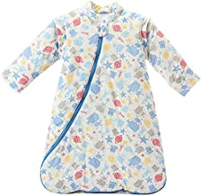 DANGTOP Baby Sleeping Bag Wearable Blanket Detachable Long Sleeves Cotton Sleep Sack Nightgowns for Winter, Cartoon Blue Robot Pattern Toddler Sleep Nest for Kids. (M)