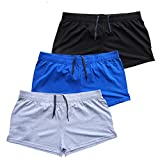 Musclealive Hommes Gym La musculation Faire des exercices Men Short Coton,Style A Noir + Bleu + Gris, 3 Entrejambe Tissu Mince Sans Poches,XL-(taille 35Pouce-41Pouce)