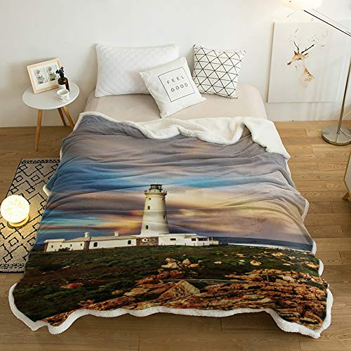 Yun Nist Sherpa Fleece Throw Blanket Nautical Lighthouse with Rainbow Super Soft Reversible Blankets, Wram Cozy Throws for Sofa Couch Bed Beach Sunset 40x50in