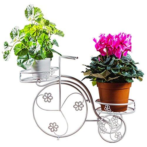 Porte-fleurs en métal Présentoir d'usine Salon à plusieurs étages Balcon Pot de jardin extérieur en pot Blanc