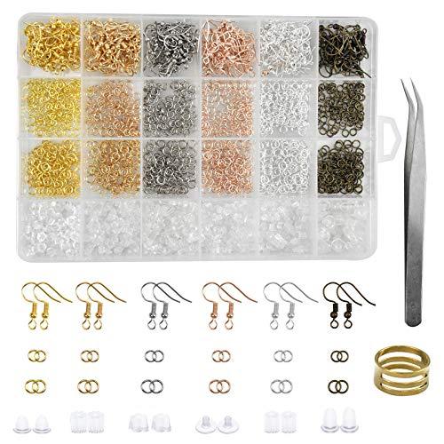 AvoDovA 1900PCS Kit de Fabrication Boucle Oreille, Kit de Réparation de Bijoux, Boucles D'oreilles Crochets, DIY Oreille Fabrication, Bijoux Starter Kit pour Oreille Bracelet Bijoux Artisanat