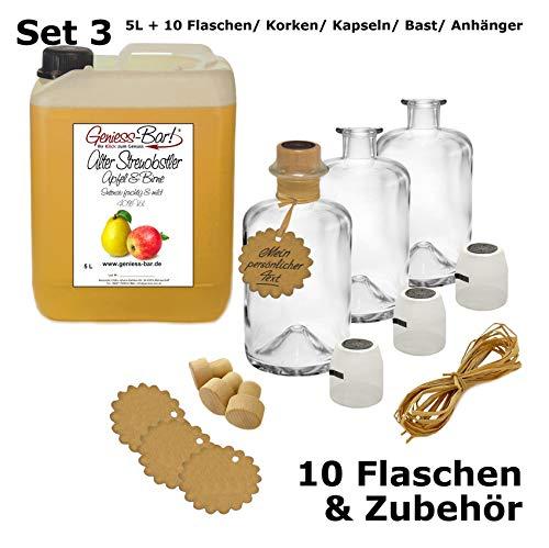 Alter Streuobsler 5 L inkl. 10 Flaschen, Korken, Kapseln, Bast & Anhänger Milder Apfel & Birne 40% Vol.