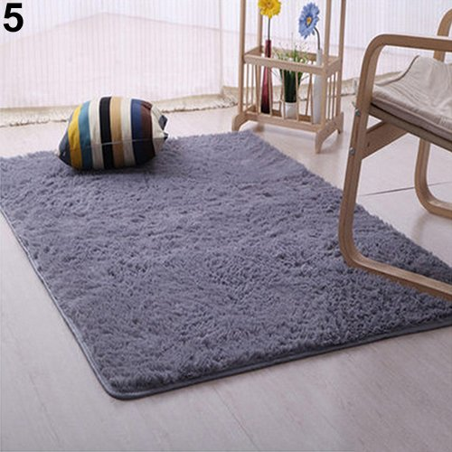 Terzsl Moquette, tapis doux en peluche pour chambre à coucher, tapis antidérapant – Gris 50 cm x 80 cm