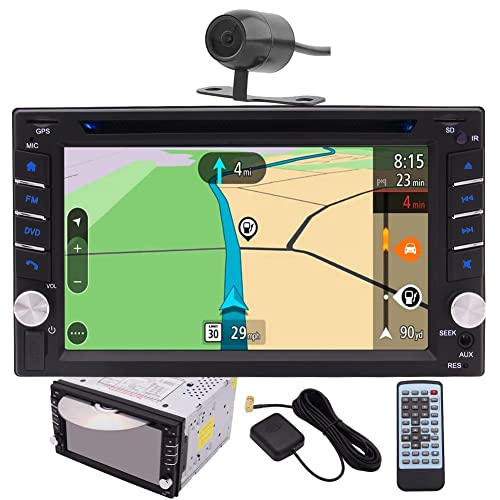 EINCAR Double DIN Car Stereo GPS Navigation Car DVD CD Player in Dash Bluetooth Head Unit with Capacitive Touchscreen AM FM RDS Autoradio 2 DIN Car Radio Receiver Audio Video USB Map Card+Rear Camera
