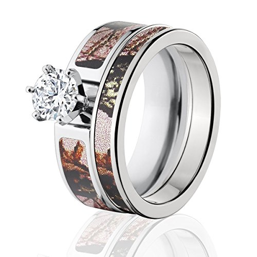 Mossy Oak Camo Bridal Set, Camo Wedding Rings, Pink Break-Up Camo Rings