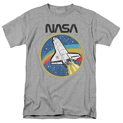 NASA Retro Vintage Space Shuttle T Shirt & Stickers (X-Large) Athletic Heather